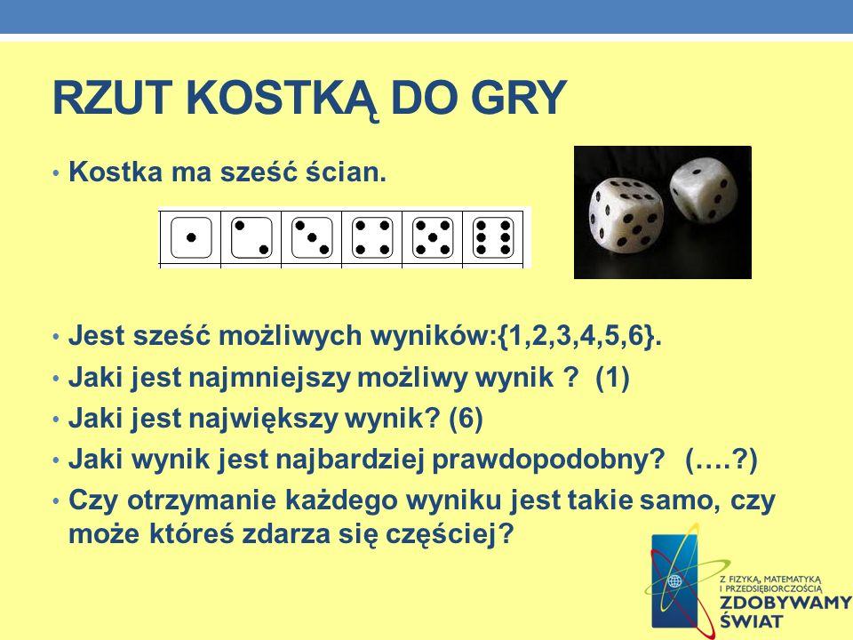 RZUT KOSTKĄ DO GRY Kostka ma sześć ścian.Jest sześć możliwych wyników:{1,2,3,4,5,6}.