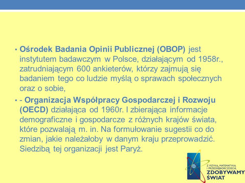 Ośrodek Badania Opinii Publicznej (OBOP) jest instytutem badawczym w Polsce, działającym od 1958r., zatrudniającym 600 ankieterów, którzy zajmują się badaniem tego co ludzie myślą o sprawach społecznych oraz o sobie, - Organizacja Współpracy Gospodarczej i Rozwoju (OECD) działająca od 1960r.