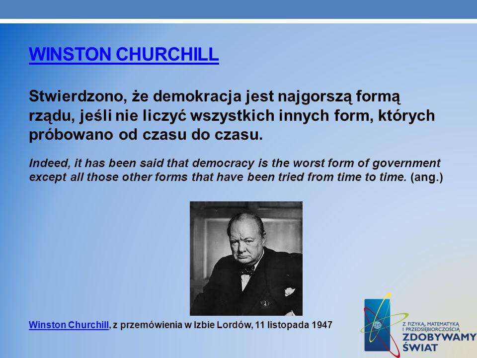 WINSTON CHURCHILL Stwierdzono, że demokracja jest najgorszą formą rządu, jeśli nie liczyć wszystkich innych form, których próbowano od czasu do czasu.