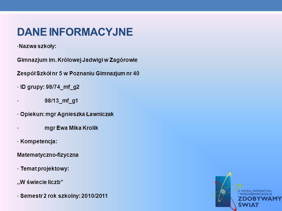 DANE INFORMACYJNE Nazwa szkoły: Gimnazjum im. Królowej Jadwigi w Zagórowie Zespół Szkół nr 5 w Poznaniu Gimnazjum nr 40 ID grupy: 98/74_mf_g2 98/13_mf