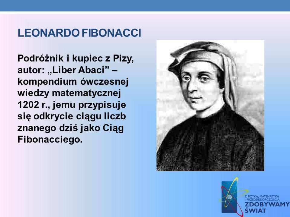 LEONARDO FIBONACCI Podróżnik i kupiec z Pizy, autor: Liber Abaci – kompendium ówczesnej wiedzy matematycznej 1202 r., jemu przypisuje się odkrycie cią