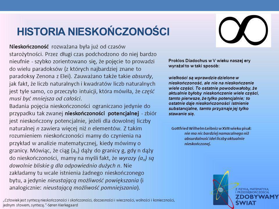 HISTORIA NIESKOŃCZONOŚCI Proklos Diadochus w V wieku naszej ery wyrażał to w taki sposób: wielkości są wprawdzie dzielone w nieskończoność, ale nie na