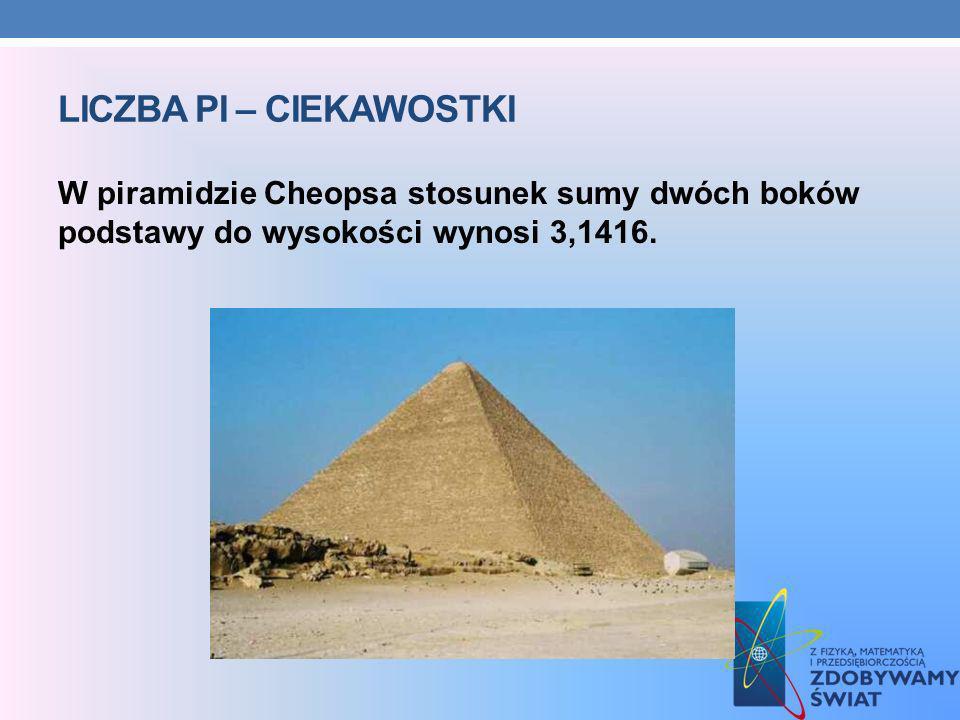 LICZBA PI – CIEKAWOSTKI W piramidzie Cheopsa stosunek sumy dwóch boków podstawy do wysokości wynosi 3,1416.