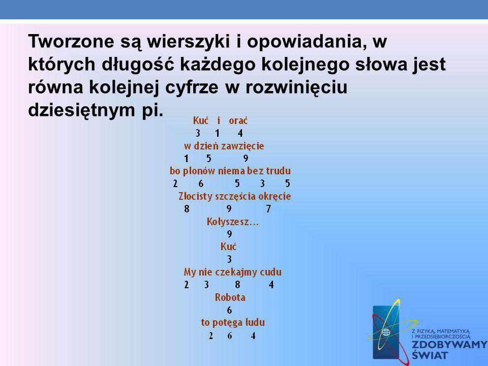 Tworzone są wierszyki i opowiadania, w których długość każdego kolejnego słowa jest równa kolejnej cyfrze w rozwinięciu dziesiętnym pi.