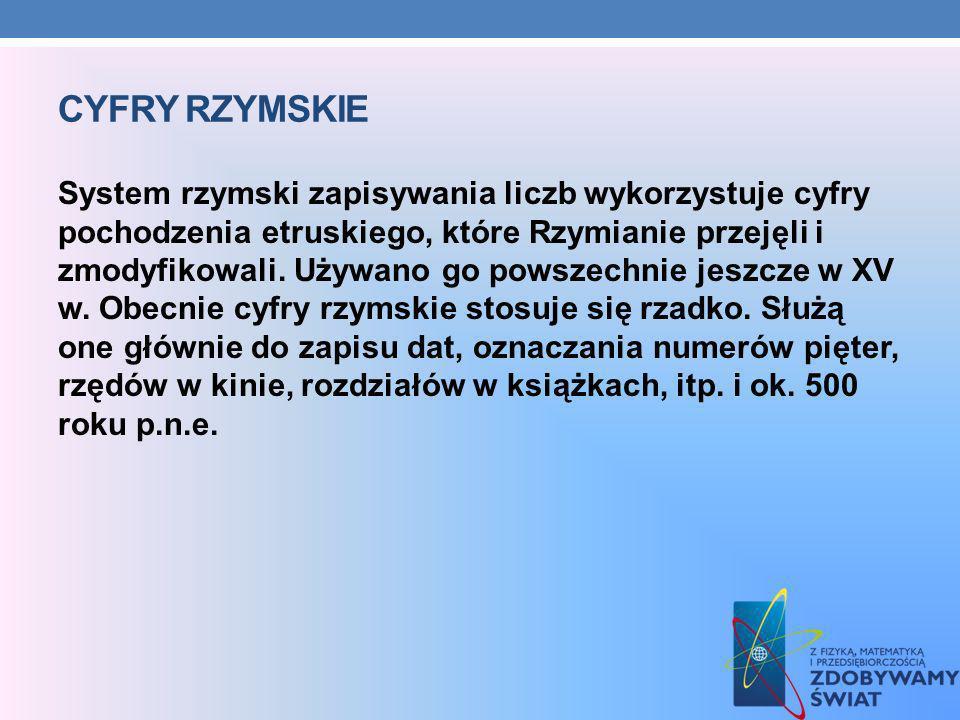CYFRY RZYMSKIE System rzymski zapisywania liczb wykorzystuje cyfry pochodzenia etruskiego, które Rzymianie przejęli i zmodyfikowali. Używano go powsze