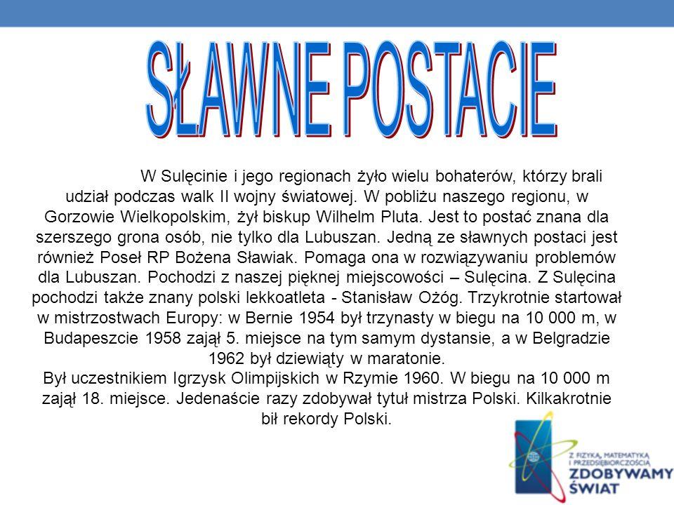 W Sulęcinie i jego regionach żyło wielu bohaterów, którzy brali udział podczas walk II wojny światowej.