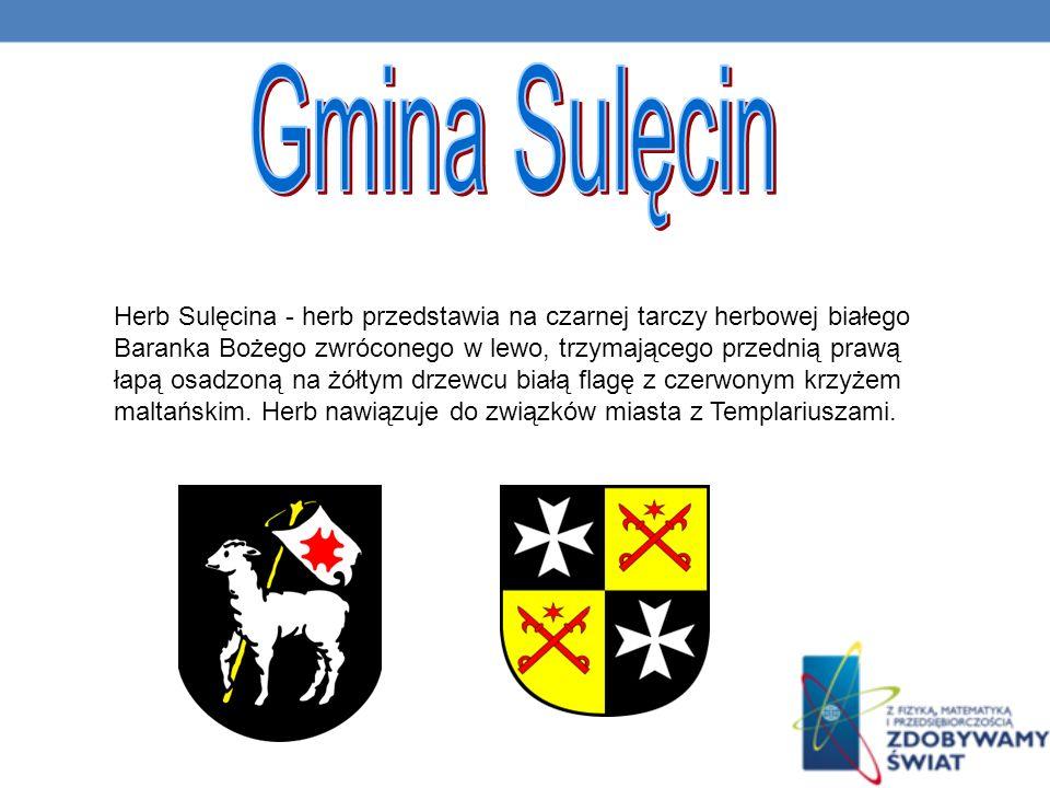 Herb Sulęcina - herb przedstawia na czarnej tarczy herbowej białego Baranka Bożego zwróconego w lewo, trzymającego przednią prawą łapą osadzoną na żółtym drzewcu białą flagę z czerwonym krzyżem maltańskim.