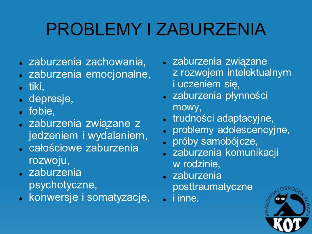 PROBLEMY I ZABURZENIA zaburzenia zachowania, zaburzenia emocjonalne, tiki, depresje, fobie, zaburzenia związane z jedzeniem i wydalaniem, całościowe z
