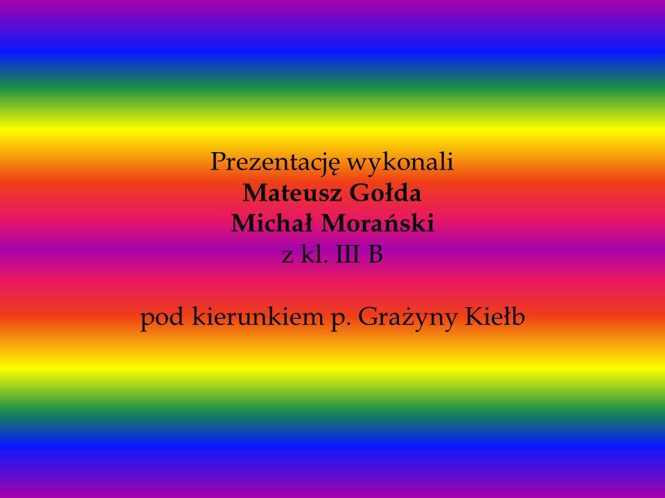 Prezentację wykonali Mateusz Gołda Michał Morański z kl. III B pod kierunkiem p. Grażyny Kiełb