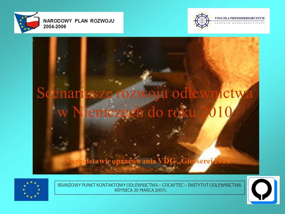 Scenariusze rozwoju odlewni - wnioski BRANŻOWY PUNKT KONTAKTOWY ODLEWNICTWA – COCAFTEC – INSTYTUT ODLEWNICTWA KRYNICA 30 MARCA 2007r.