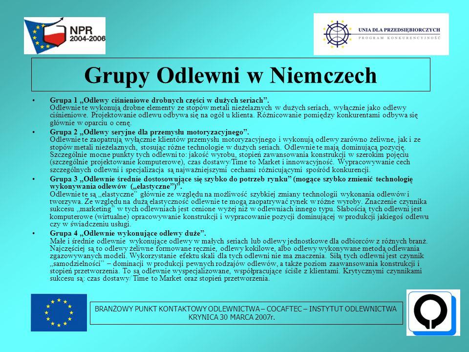 Grupy Odlewni w Niemczech Grupa 1 Odlewy ciśnieniowe drobnych części w dużych seriach.