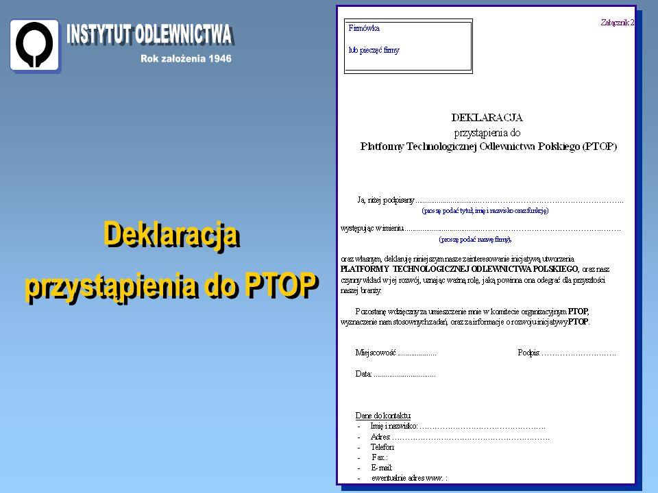 Deklaracja przystąpienia do PTOP