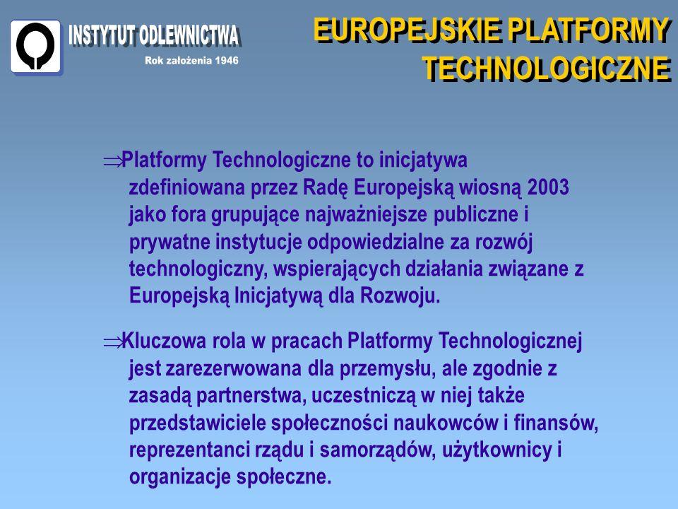 EUROPEJSKIE PLATFORMY TECHNOLOGICZNE EUROPEJSKIE PLATFORMY TECHNOLOGICZNE Platformy Technologiczne to inicjatywa zdefiniowana przez Radę Europejską wiosną 2003 jako fora grupujące najważniejsze publiczne i prywatne instytucje odpowiedzialne za rozwój technologiczny, wspierających działania związane z Europejską Inicjatywą dla Rozwoju.