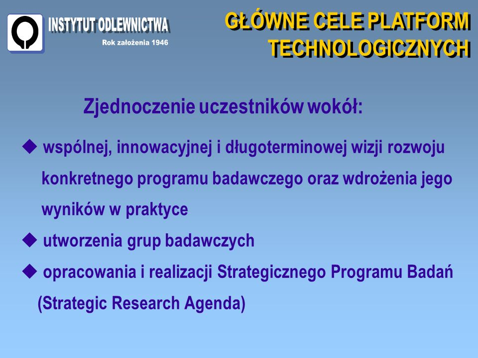 GŁÓWNE CELE PLATFORM TECHNOLOGICZNYCH GŁÓWNE CELE PLATFORM TECHNOLOGICZNYCH Zjednoczenie uczestników wokół: wspólnej, innowacyjnej i długoterminowej wizji rozwoju konkretnego programu badawczego oraz wdrożenia jego wyników w praktyce utworzenia grup badawczych opracowania i realizacji Strategicznego Programu Badań (Strategic Research Agenda)