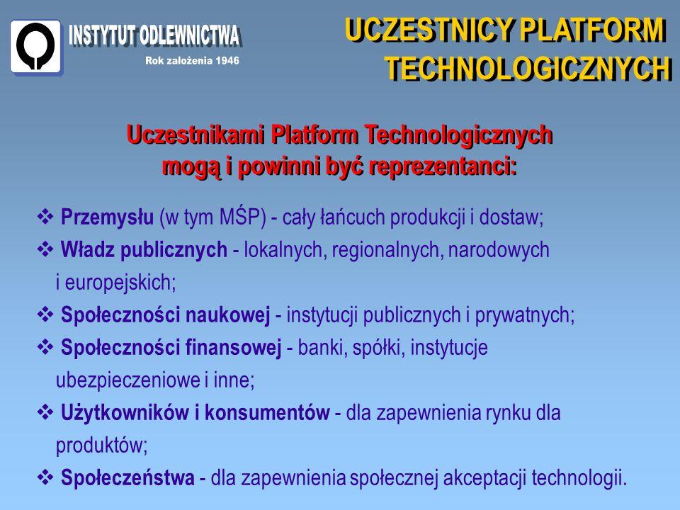 UCZESTNICY PLATFORM TECHNOLOGICZNYCH UCZESTNICY PLATFORM TECHNOLOGICZNYCH Przemysłu (w tym MŚP) - cały łańcuch produkcji i dostaw; Władz publicznych - lokalnych, regionalnych, narodowych i europejskich; Społeczności naukowej - instytucji publicznych i prywatnych; Społeczności finansowej - banki, spółki, instytucje ubezpieczeniowe i inne; Użytkowników i konsumentów - dla zapewnienia rynku dla produktów; Społeczeństwa - dla zapewnienia społecznej akceptacji technologii.