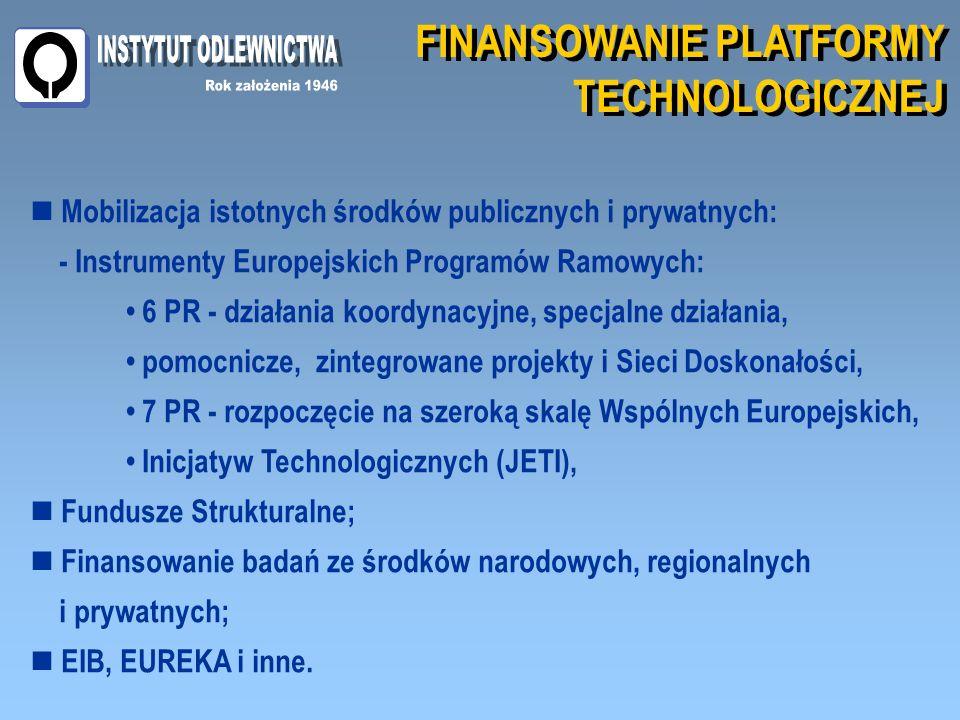FINANSOWANIE PLATFORMY TECHNOLOGICZNEJ FINANSOWANIE PLATFORMY TECHNOLOGICZNEJ Mobilizacja istotnych środków publicznych i prywatnych: - Instrumenty Europejskich Programów Ramowych: 6 PR - działania koordynacyjne, specjalne działania, pomocnicze, zintegrowane projekty i Sieci Doskonałości, 7 PR - rozpoczęcie na szeroką skalę Wspólnych Europejskich, Inicjatyw Technologicznych (JETI), Fundusze Strukturalne; Finansowanie badań ze środków narodowych, regionalnych i prywatnych; EIB, EUREKA i inne.