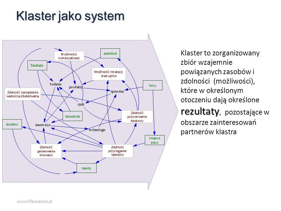 rezultaty Klaster to zorganizowany zbiór wzajemnie powiązanych zasobów i zdolności (możliwości), które w określonym otoczeniu dają określone rezultaty