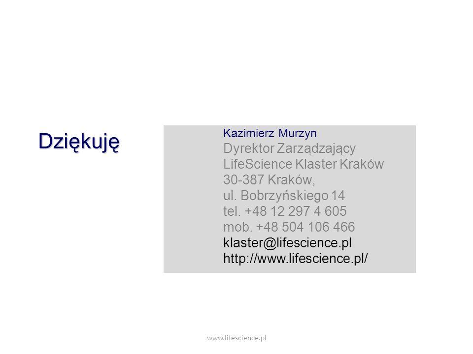 www.lifescience.pl Kazimierz Murzyn Dyrektor Zarządzający LifeScience Klaster Kraków 30-387 Kraków, ul. Bobrzyńskiego 14 tel. +48 12 297 4 605 mob. +4