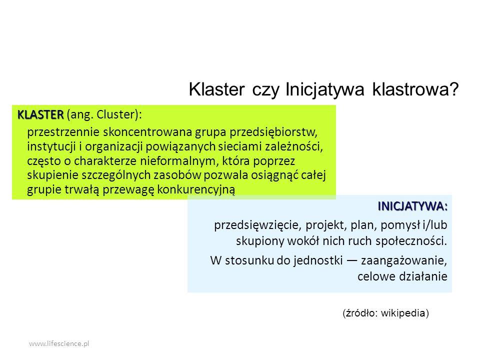 www.lifescience.pl KLASTER KLASTER (ang. Cluster): przestrzennie skoncentrowana grupa przedsiębiorstw, instytucji i organizacji powiązanych sieciami z
