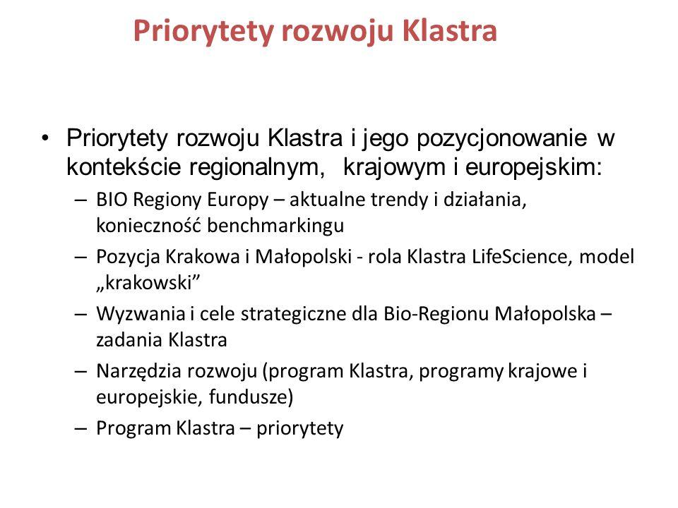 Priorytety rozwoju Klastra Priorytety rozwoju Klastra i jego pozycjonowanie w kontekście regionalnym, krajowym i europejskim: – BIO Regiony Europy – a