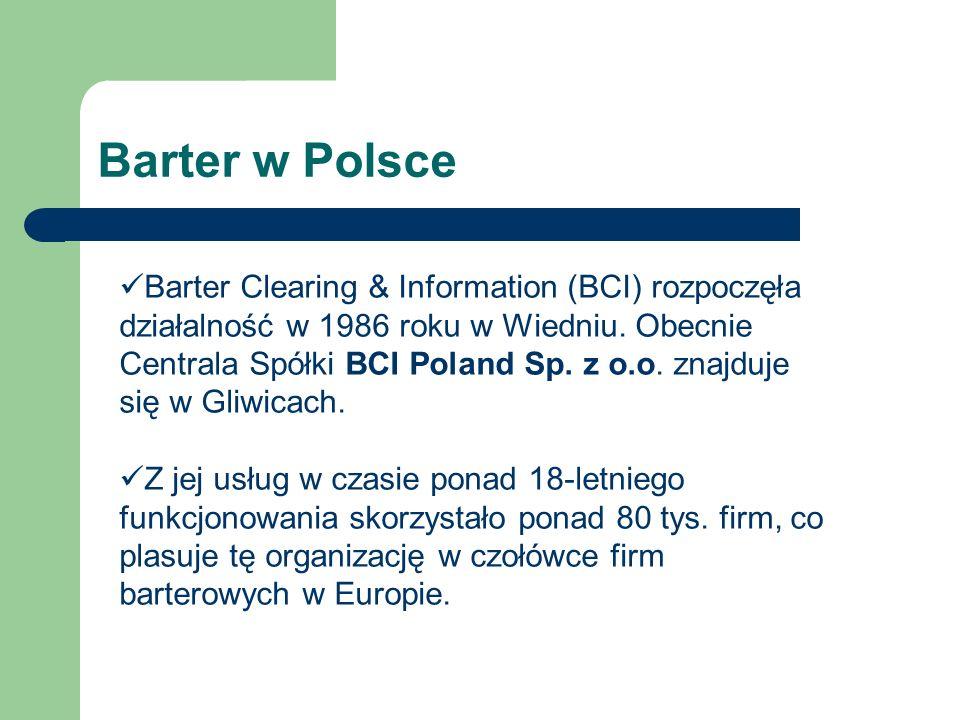 Barter w Polsce Barter Clearing & Information (BCI) rozpoczęła działalność w 1986 roku w Wiedniu. Obecnie Centrala Spółki BCI Poland Sp. z o.o. znajdu