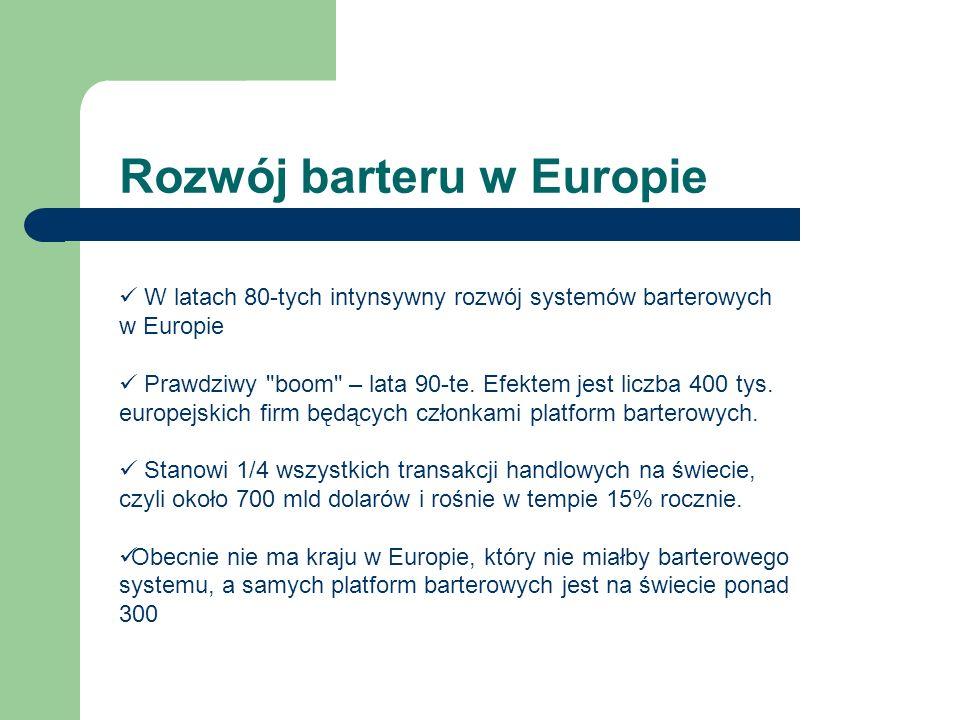 Rozwój barteru w Europie W latach 80-tych intynsywny rozwój systemów barterowych w Europie Prawdziwy