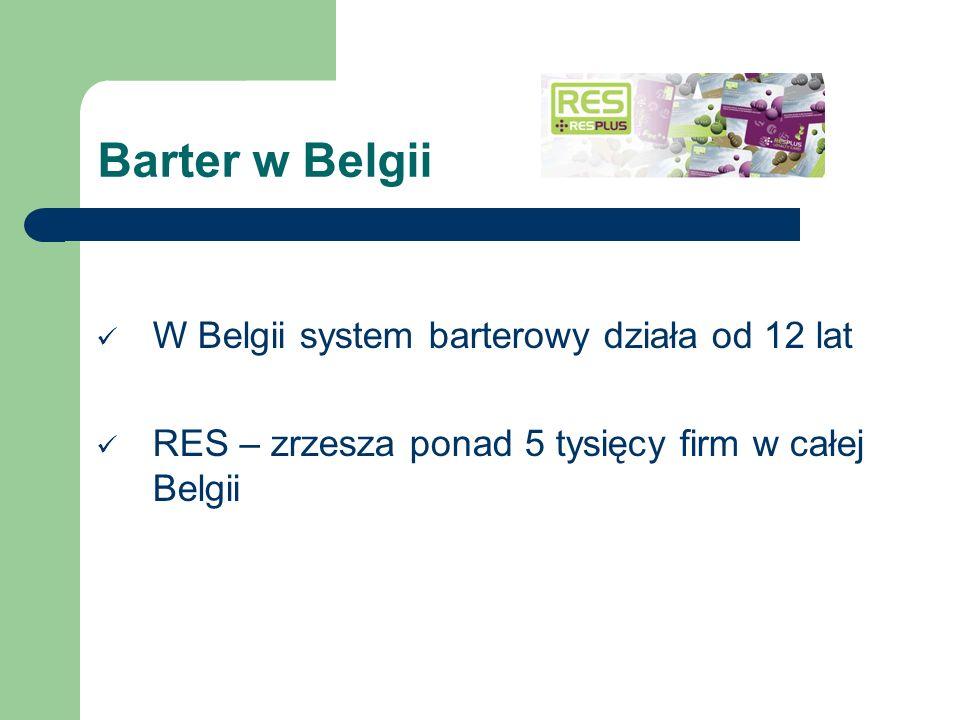 Barter w Belgii W Belgii system barterowy działa od 12 lat RES – zrzesza ponad 5 tysięcy firm w całej Belgii
