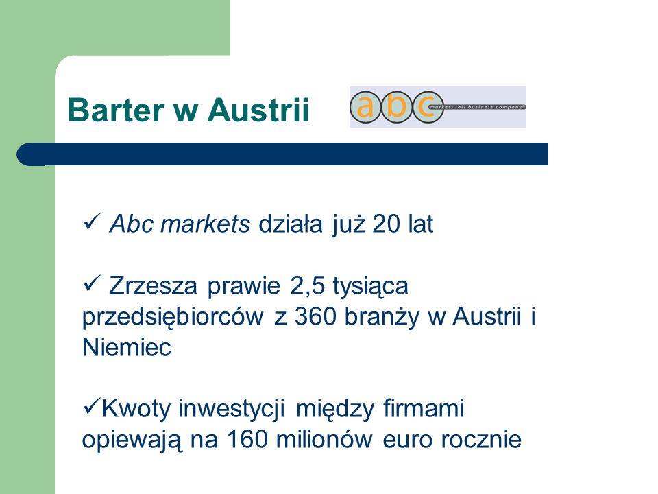 Barter w Austrii Abc markets działa już 20 lat Zrzesza prawie 2,5 tysiąca przedsiębiorców z 360 branży w Austrii i Niemiec Kwoty inwestycji między fir
