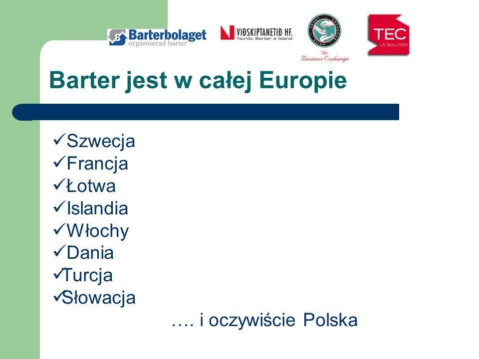 Barter jest w całej Europie Szwecja Francja Łotwa Islandia Włochy Dania Turcja Słowacja …. i oczywiście Polska