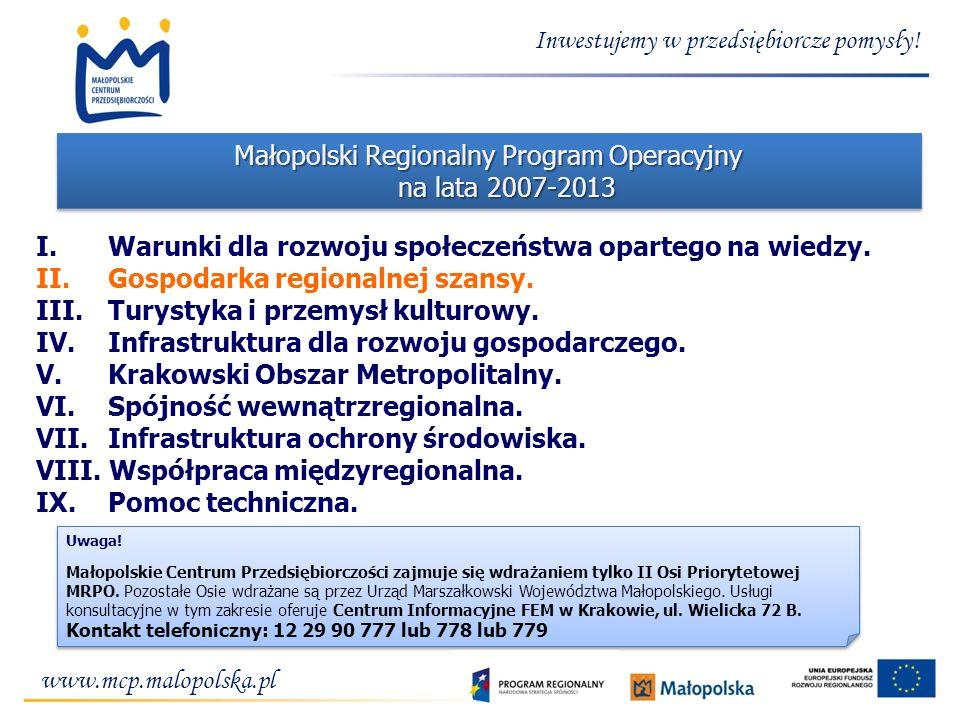 Inwestujemy w przedsiębiorcze pomysły! Małopolski Regionalny Program Operacyjny na lata 2007-2013 I. Warunki dla rozwoju społeczeństwa opartego na wie