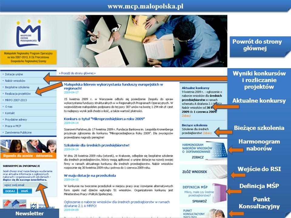 www.mcp.malopolska.pl Powrót do strony głównej Wyniki konkursów i rozliczanie projektów Aktualne konkursy Bieżące szkolenia Harmonogram naborów Wejści