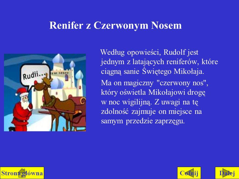 Renifer z Czerwonym Nosem Według opowieści, Rudolf jest jednym z latających reniferów, które ciągną sanie Świętego Mikołaja. Ma on magiczny
