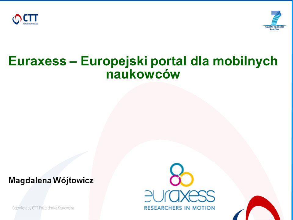 Euraxess – Europejski portal dla mobilnych naukowców Magdalena Wójtowicz