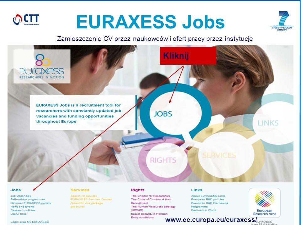 EURAXESS Jobs Zamieszczenie CV przez naukowców i ofert pracy przez instytucje Kliknij www.ec.europa.eu/euraxess/