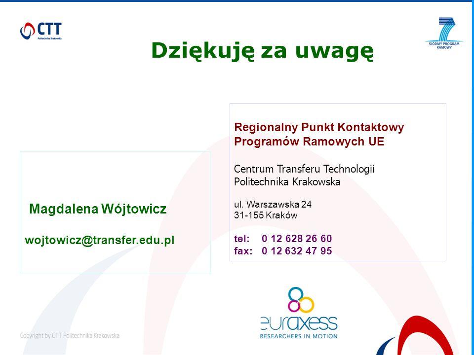 Magdalena Wójtowicz wojtowicz@transfer.edu.pl Regionalny Punkt Kontaktowy Programów Ramowych UE Centrum Transferu Technologii Politechnika Krakowska ul.
