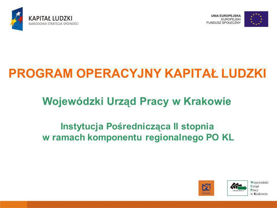 Badania i analizy Akcje / kampanie promocyjne i informacyjne Doradztwo dla przedsiębiorstw Upowszechnienie formalnego kształcenia ustawicznego Realizacja badań /analiz w ramach projektów systemowych IP i IP2 Decyzja Zarządu Województwa Małopolskiego Akcje promocyjne i informacyjne mają być prowadzone przez Instytucję Pośredniczącą i finansowane z pomocy technicznej PO KL (w szczególności ukierunkowane na obszary wiejskie) Decyzja Zarządu Województwa Małopolskiego Typy wsparcia nie realizowane w roku 2009 Typy wsparcia nie realizowane w roku 2009
