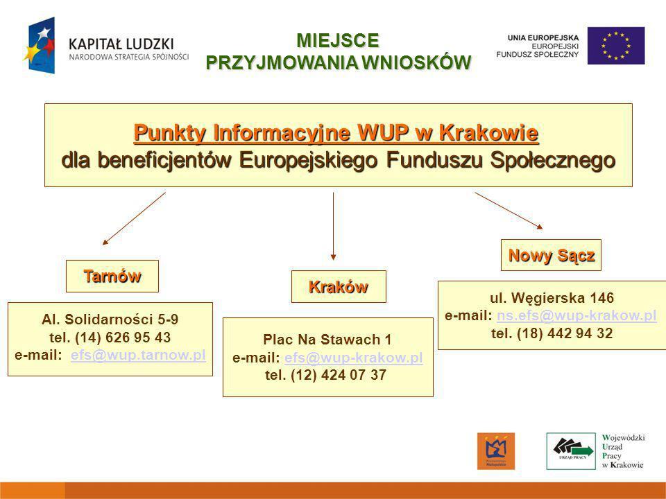 Punkty Informacyjne WUP w Krakowie dla beneficjentów Europejskiego Funduszu Społecznego Plac Na Stawach 1 e-mail: efs@wup-krakow.pl tel.