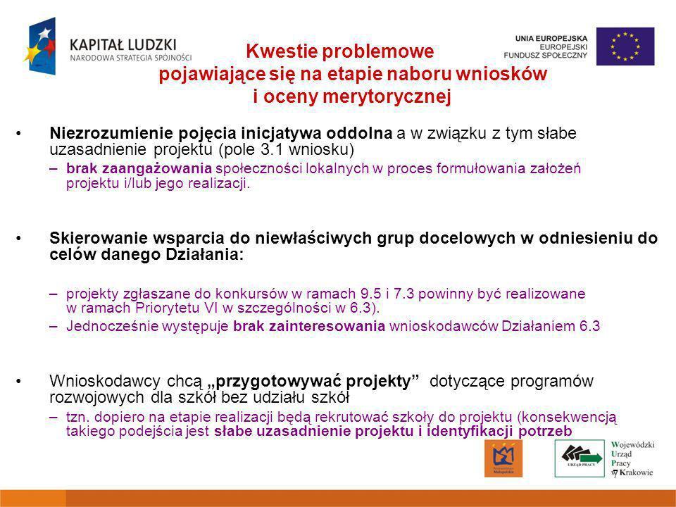 7 Kwestie problemowe pojawiające się na etapie naboru wniosków i oceny merytorycznej Niezrozumienie pojęcia inicjatywa oddolna a w związku z tym słabe uzasadnienie projektu (pole 3.1 wniosku) –brak zaangażowania społeczności lokalnych w proces formułowania założeń projektu i/lub jego realizacji.