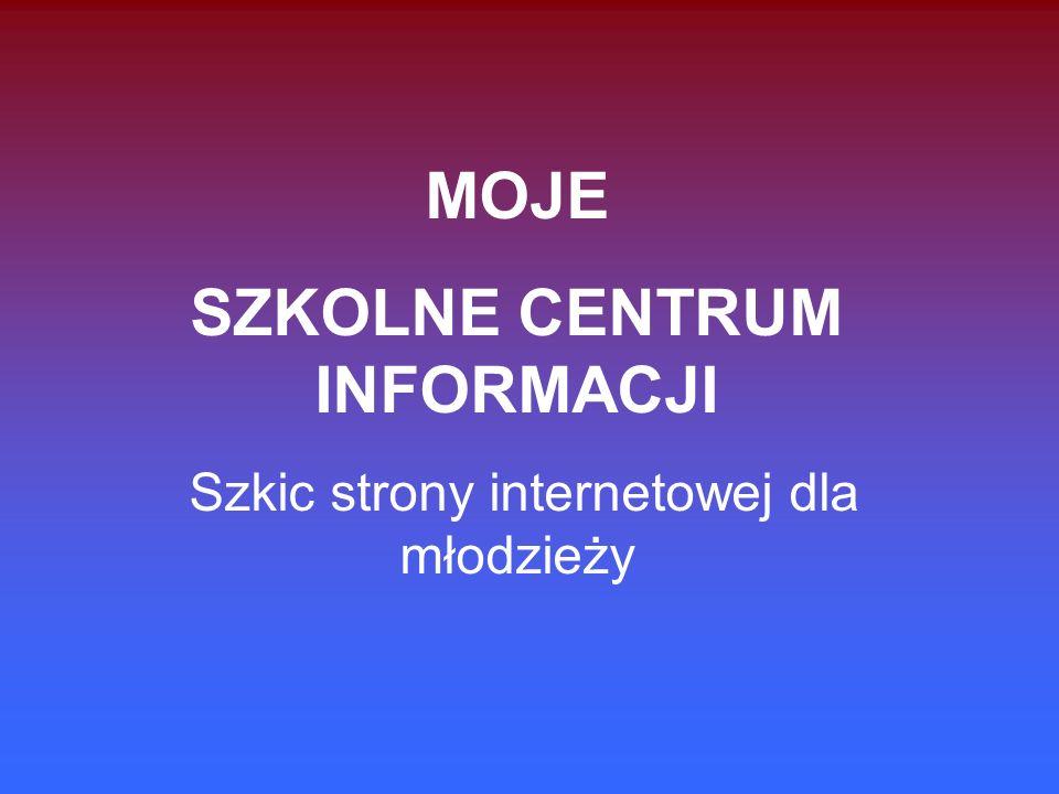 MOJE SZKOLNE CENTRUM INFORMACJI Szkic strony internetowej dla młodzieży