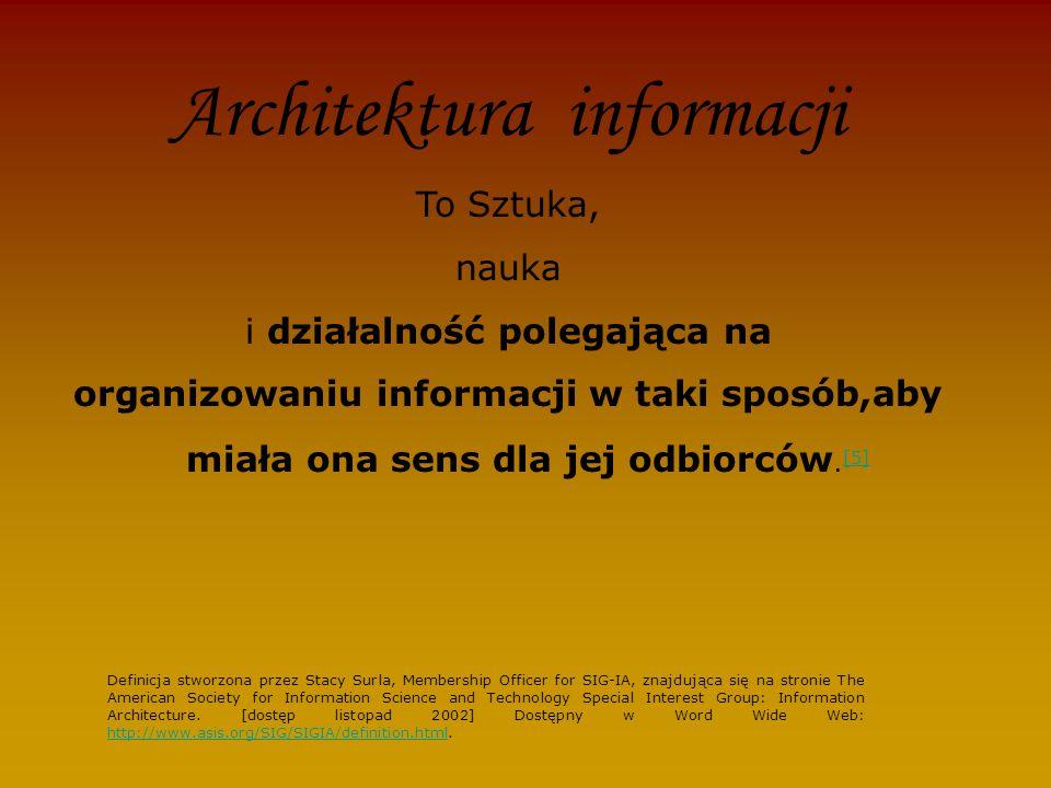 Architektura informacji To Sztuka, nauka i działalność polegająca na organizowaniu informacji w taki sposób,aby miała ona sens dla jej odbiorców.