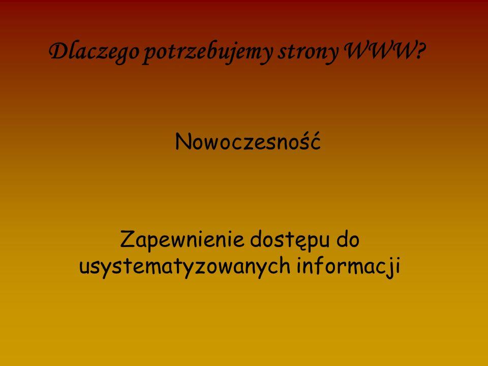 Dlaczego potrzebujemy strony WWW? Zapewnienie dostępu do usystematyzowanych informacji Nowoczesność