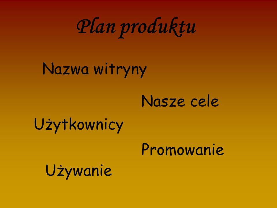 Plan produktu Nazwa witryny Nasze cele Użytkownicy Promowanie Używanie