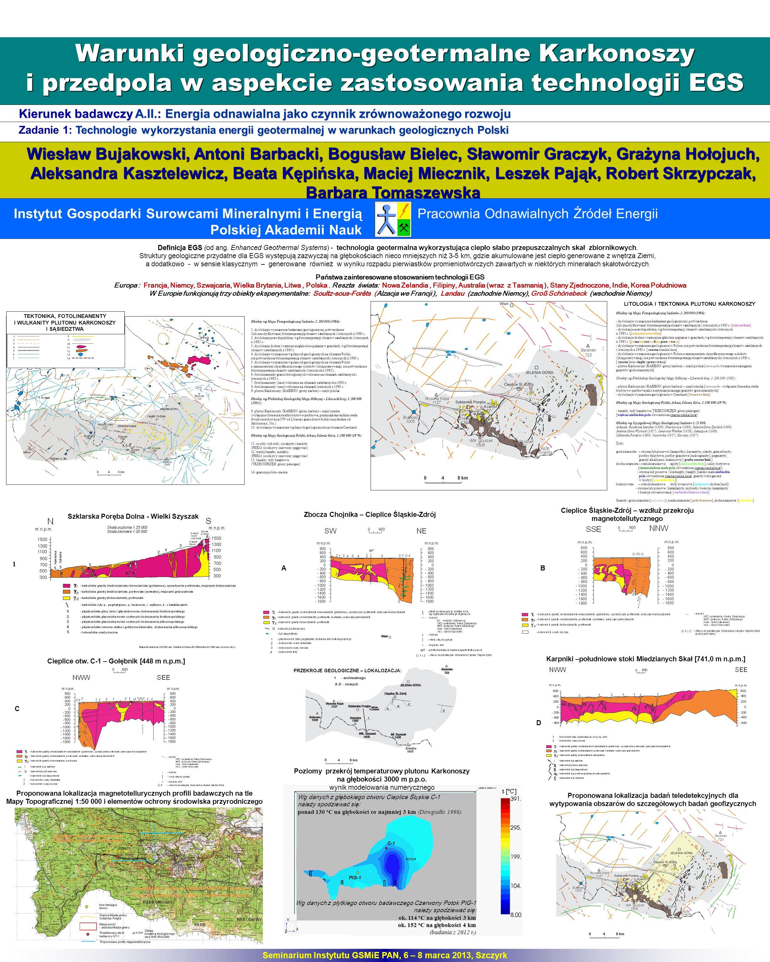 Warunki geologiczno-geotermalne Karkonoszy i przedpola w aspekcie zastosowania technologii EGS Kierunek badawczy A.II.: Energia odnawialna jako czynni