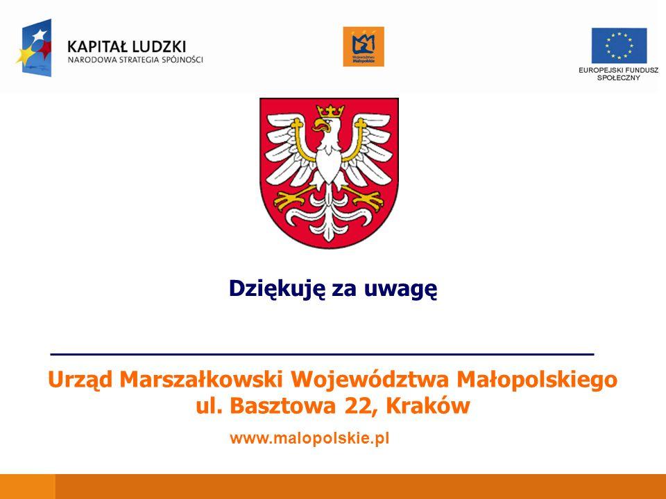 Urząd Marszałkowski Województwa Małopolskiego ul. Basztowa 22, Kraków www.malopolskie.pl Dziękuję za uwagę