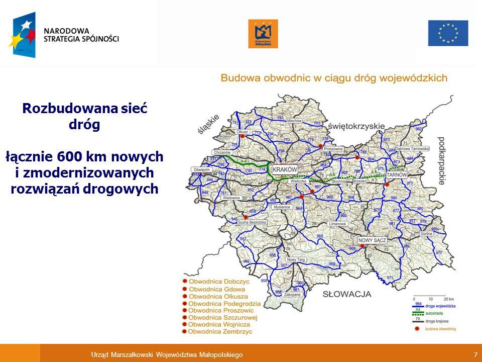 Urząd Marszałkowski Województwa Małopolskiego 8 Zmodernizowano lotnisko w Balicach zdjęcie ze strony www.krakowairport.pl rozbudowany wewnętrzny układ komunikacyjny, rozbudowany terminal pasażerski /POIŚ/, rozbudowana infrastruktura lotniskowa /POIŚ/ Realizacja inwestycji pozwoliła na jednorazową obsługę w Krakowie ponad 200 tys.