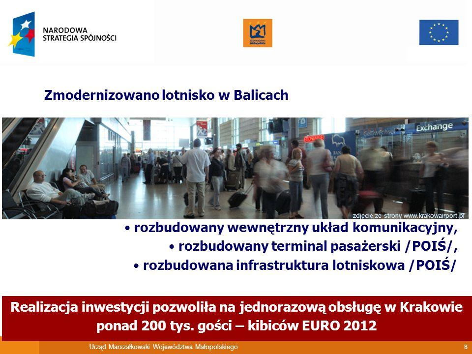 Urząd Marszałkowski Województwa Małopolskiego 8 Zmodernizowano lotnisko w Balicach zdjęcie ze strony www.krakowairport.pl rozbudowany wewnętrzny układ