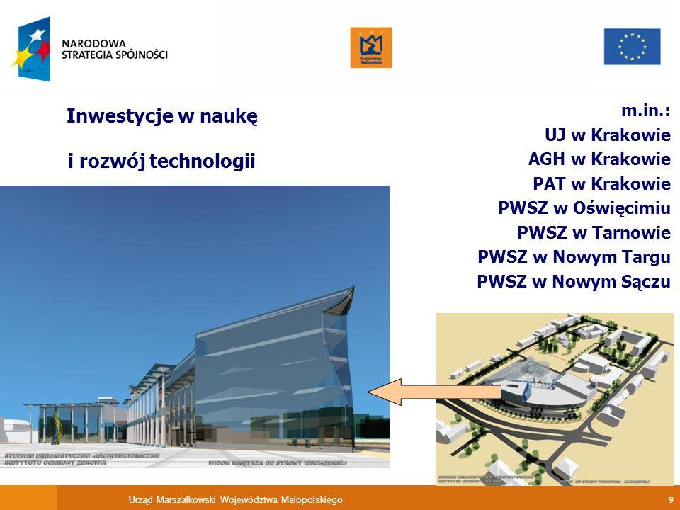 Urząd Marszałkowski Województwa Małopolskiego 10 Inwestycje w infrastrukturę ochrony zdrowia .