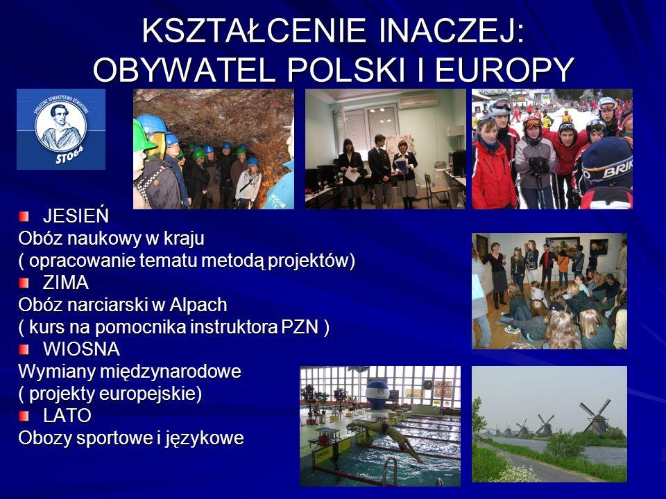KSZTAŁCENIE INACZEJ: OBYWATEL POLSKI I EUROPY JESIEŃ Obóz naukowy w kraju ( opracowanie tematu metodą projektów) ZIMA Obóz narciarski w Alpach ( kurs