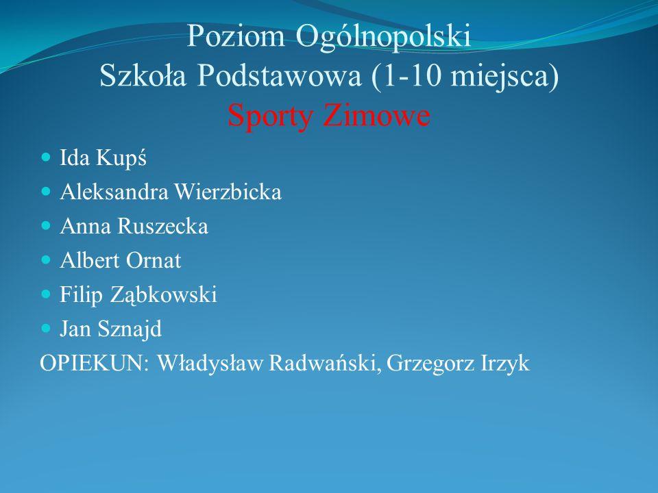 Poziom Ogólnopolski Szkoła Podstawowa (1-10 miejsca) Sporty Zimowe Ida Kupś Aleksandra Wierzbicka Anna Ruszecka Albert Ornat Filip Ząbkowski Jan Sznaj