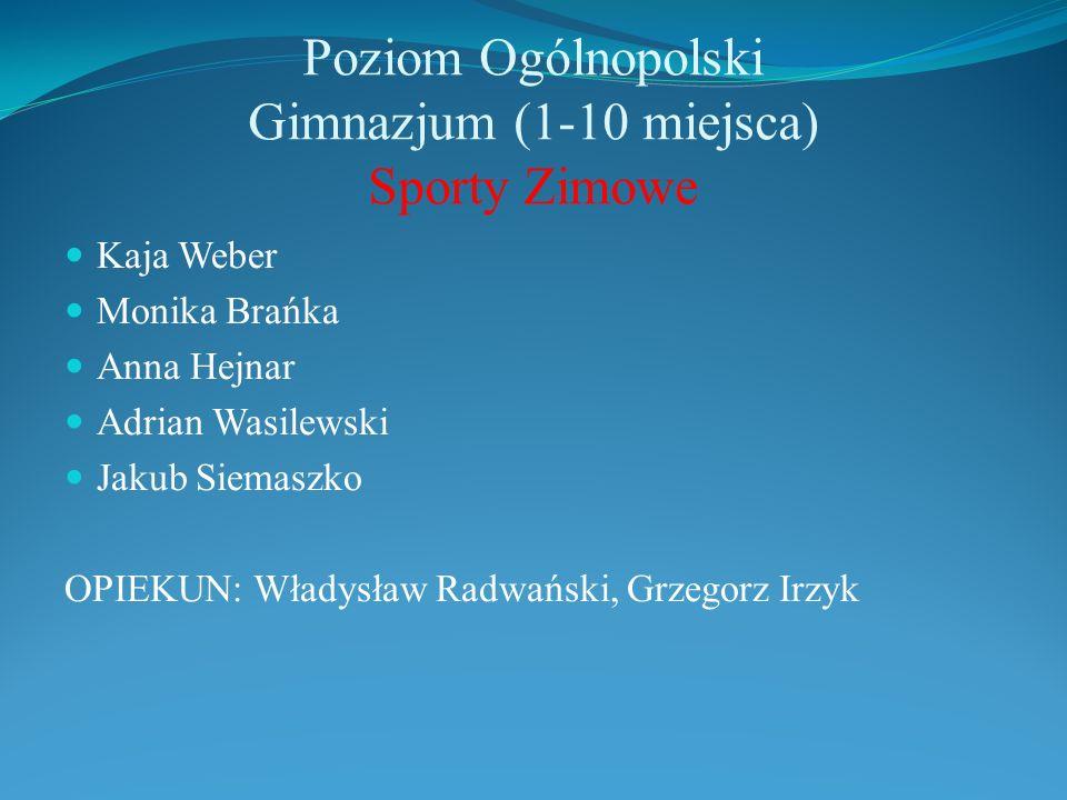 Poziom Ogólnopolski Gimnazjum (1-10 miejsca) Sporty Zimowe Kaja Weber Monika Brańka Anna Hejnar Adrian Wasilewski Jakub Siemaszko OPIEKUN: Władysław R